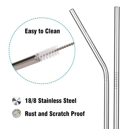 Epartswide Reusable Straws 8 Pcs Full Variety Stainless Steel Straws and 4 Pcs Cleaning Brushes for 30oz 20oz Yeti Tumbler RTIC Tervis Ozark Trail Starbucks Mason Jar FDA Approved and BPA Free by Epartswide (Image #2)