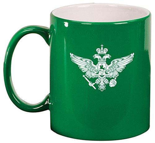 Ceramic Coffee Tea Mug Cup Russia Russian Eagle (Green) (Russian Mug Ceramic)