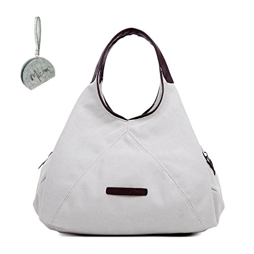 Bag Pure Micom Canvas for Crossbody Tote Shoulder Color Hobo White Women wO0CqxSP4