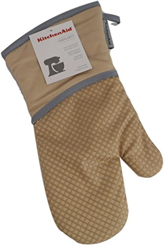 KitchenAid Cotton Oven Mitt, Microfiber Lined, Printed Grid