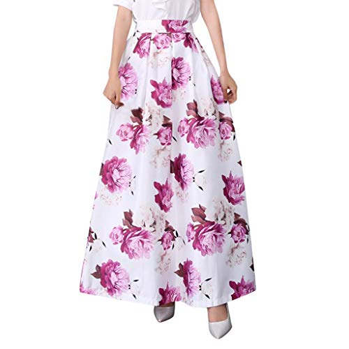 SSYongxia ♪ Women's Spring and Summer Printed Casual Skirt Retro Large Swing Skirt Ladies Long Maxi Skirt Purple