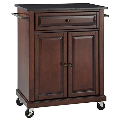 Kitchen Island Cart on Wheels with Granite Top Rolling Storage Cabinet (Vintage Mahogany)