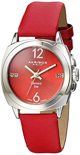 Akribos XXIV Women's AK742 Swiss Quartz Movement Watch with Rose Gold Sunburst Effect Dial and Beige Satin over Nubuck Leather Strap (Red) ()