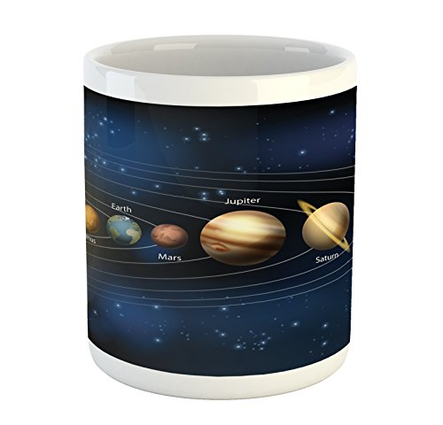 Lunarable Galaxy Mug, Realistic and Scientific Illustration of The Planets of Solar System in Milky Way, Printed Ceramic Coffee Mug Water Tea Drinks Cup, Multicolor by Lunarable
