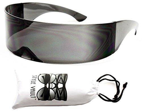 [V138-vp Robocop Robot Rimless Party Sunglasses (1521C Black, uv400)] (Robocop Halloween Costume)
