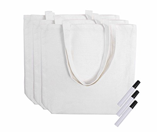Reusable Grocery Canvas Tote Bags - 3 Pack - 100% Natural Co