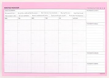 Bloc calendario planificador mensual Paperian para escritorio, sin fecha (idioma español no garantizado), color Bubblegum Pink