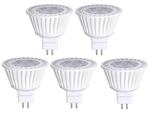 5 Pack Bioluz LED MR16 50W Halogen Equivalent Dimmable 7w 3000K 12v UL listed