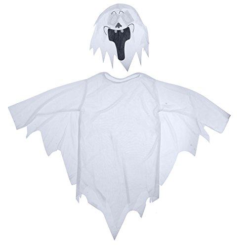 wsloftyGYd White Ghost Tattered Gown Mask Girl Boy Children Halloween Fancy Dress Costume White ()