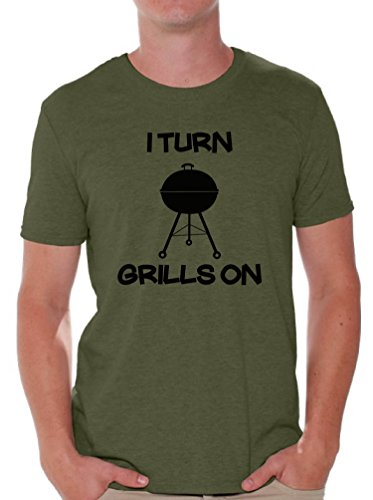 Price comparison product image Awkward Styles Men's I Turn Grills on T Shirt Tops Funny BBQ Grill Militarygreen XL