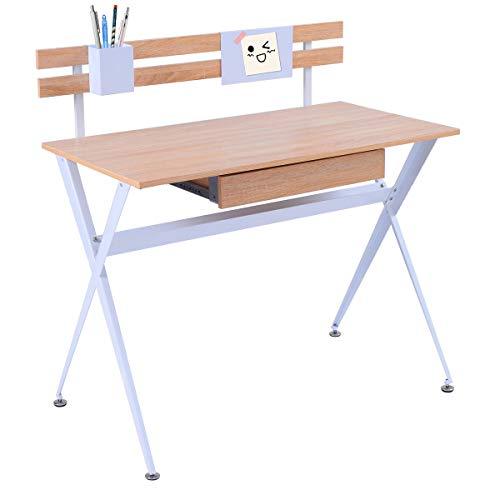 Tangkula Computer Desk Wood Top Computer Desk Writing Laptop Table Workstation Home Office Furniture