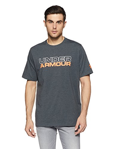 Under Armour Men's Wordmark T-Shirt,Stealth Gray Medium (009)/Magma Orange, Medium - Orange Wordmark T-shirt