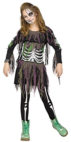 3d Zombie Costumes (Big Girls' Zombie Skeleton 3d Costume, X-Large)