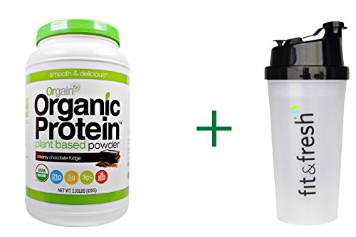 Chocolate Fudge Gluten Free Protein Powder by Orgain + Shaker Bottle, 2.03 lbs