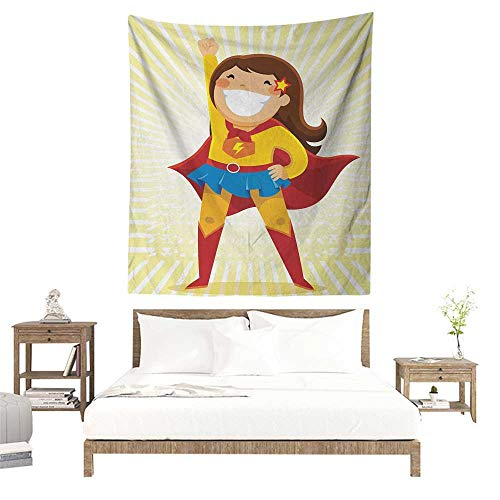 Meikxf Superhero DIY Tapestry Courageous Little Girl with a Big Smile in Costume Standing in a Heroic Position Tapestry for Home Decor 60W x 80L INCH -