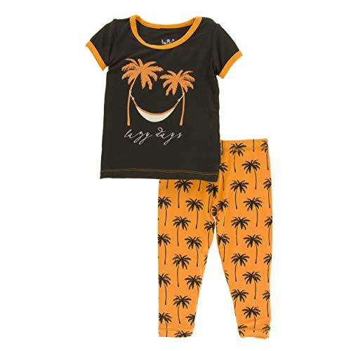 - Kickee Pants Cancun Print S/S Pajama Set - Apricot Palm Trees, 3T