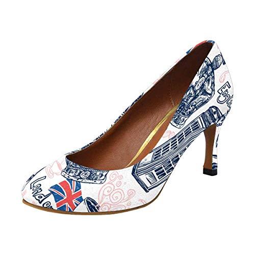 INTERESTPRINT Classic Dress Pumps Soft Walking High Heels London with Telephone Booth Big Ben 9 B(M) US (Heel High Telephone)