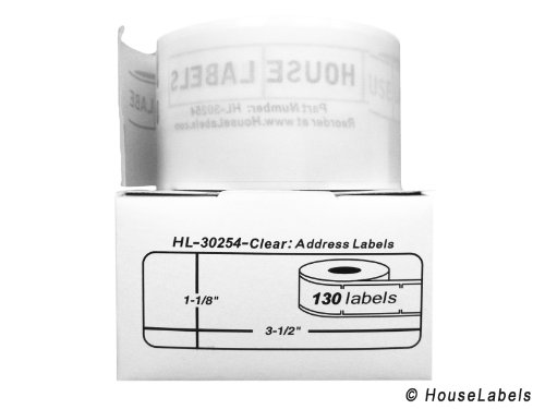 30254 Clear Address Labels - 8 Rolls; 130 Labels per Roll of DYMO-Compatible 30254 Lightly Frosted Address Labels (1-1/8