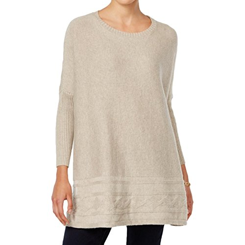 Style & Co. Womens Petites Cable Knit Crew Neck Pullover Sweater Beige PL (Knit Cable Petite)