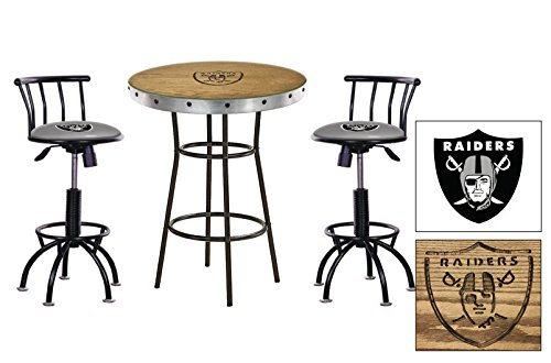 (Custom Oak Bar Table Set-Features a Hand-Carved Raiders Logo with a Glass Top and 2 - 24