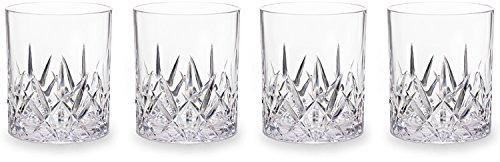 Q Squared Aurora Double Old-Fashioned Tumbler Set of 4, 14-Fluid Ounces, Crystal