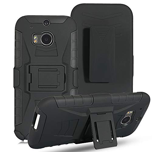 HTC One M8 Holster Case, KAWOO Heavy Duty Case with Belt Clip Swivel Holster and Kickstand Compatible for HTC One M8 (Htc M8 Phone Case Belt Clip)