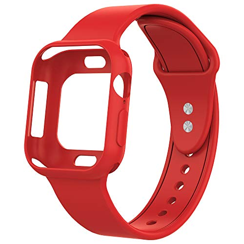 UooMoo Compatible with Apple Watch 4 Band with Case 44mm, Silicone Sport Strap Band with Shock-Proof Case Replacment for iWatch Series 4 (44mm,Red)