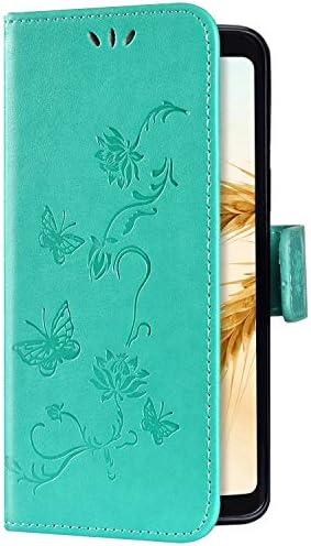 Uposao Kompatibel mit Sony Xperia 1 Hülle Brieftasche Handyhülle Schmetterling Blume Leder Schutzhülle Wallet Flip Book Case Handytasche Ständer Ledertasche Kartenfächer Magnet,Grün