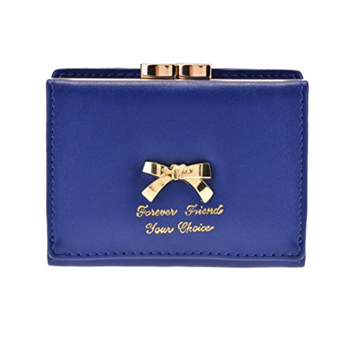 Eshion Short Faux Leather Bifold Large Bow Design Wallet Handbag