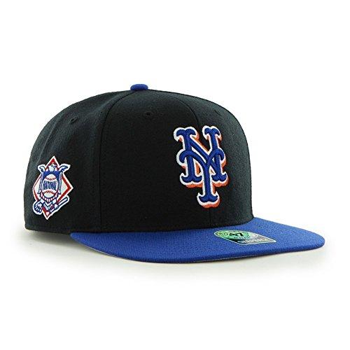New York Mets Black Wool - New York Mets Black MLB 47 Brand Sure Shot Snapback Adjustable Hat, Cap