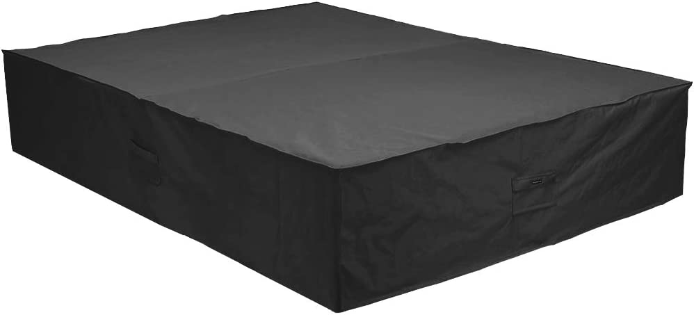 Patio Watcher 144 Inches Patio Furniture Cover Durable Water Resistant Outdoor Furniture Sets Cover with Secure Buckle Straps, Black