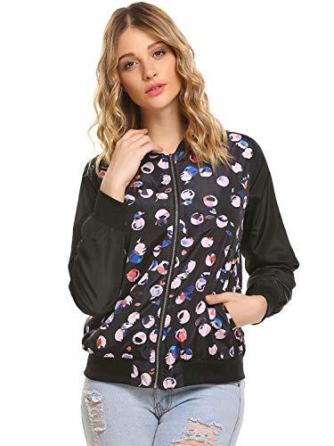 Vintage Femme Fashion El Printemps Outwear Bomber Automne Fleur Motif Blouson gaEZqfw