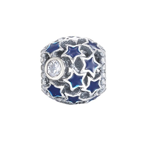 BoRuo 925 Sterling Silver Open Work Blue Enamel Super Star Charm Beads With Cubic Zirconia . Best gift for Valentine's Day, Mother's Day, Birthday, and Last Forever!