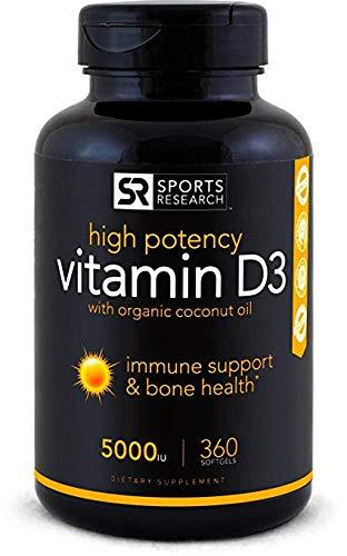 Vitamina D3-5000 iU - Certificada - 360 Capsulas - Con Aceite de Coco Organico para Mejor Absorción