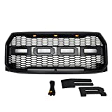 Paragon Front Grille for 2015-17 Ford F150 - Raptor Mesh Style Full Front Grill with Three LED Lights (Matte Black)