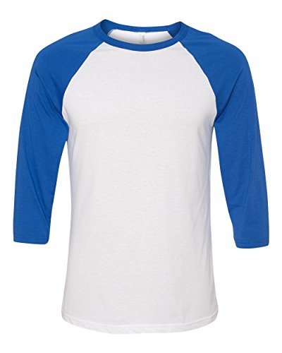 Bella 3200 Unisex 3 By 4 Sleeve Baseball Tee - White & True Royal, Small 4 Adult T-shirt