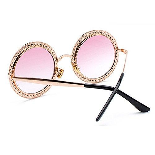 Eye de con imitación Rosado damas para marca Wear diseñador redondas sol de mujer de Elegante azul lentes marco grande Gafas con estuche gran moda para negro diamantes tamaño de qwT84zF