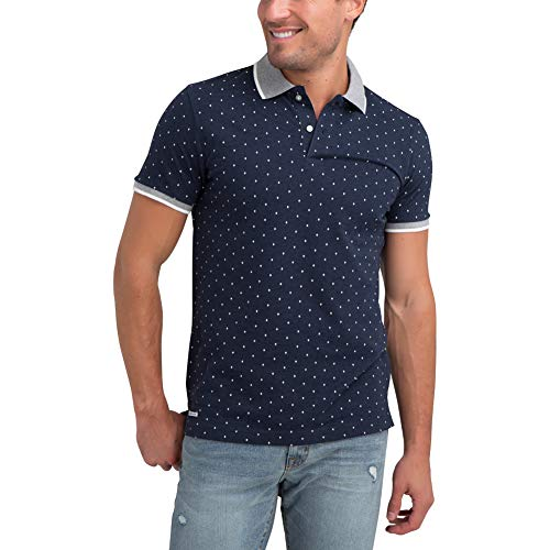 U.S. Polo Assn. Men's Poka Dot Printed Slim Fit Pique Polo Shirt Navy Heather L