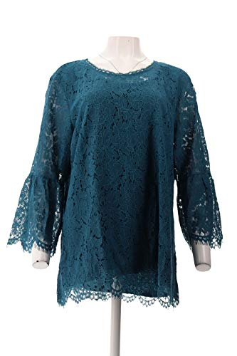 Isaac Mizrahi Floral Lace 3/4 Bell SLV Tunic Deep Sea Blue XL New A306931 from Isaac Mizrahi Live!
