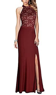 REPHYLLIS Women's Halter Floral Lace Vintage Wedding Maxi Long Dress