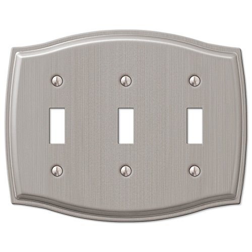3 Toggle Switch Wall Plate Cover - Brushed Nickel