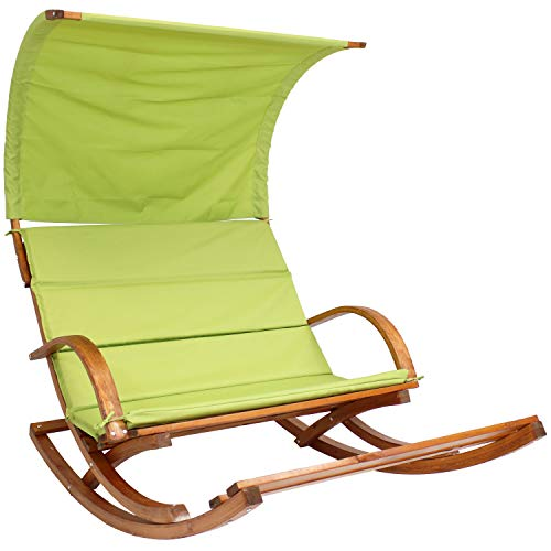 Sunnydaze Outdoor 2 Person Wooden Rocking Cushioned Loveseat with Foot Rest and Canopy, Lime Green