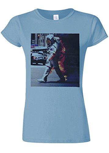 三角形結婚した覚えているBurning Astronaut Space Galaxy Novelty Light Blue Women T Shirt Top-XXL