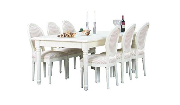 Juego barroco comedor de 8 piezas, mesa y sillas, ampliable, macizo, blanco: Amazon.es: Jardín