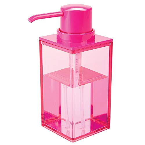 Pink Soap Dispenser (mDesign Modern Square Plastic Refillable Liquid Soap Dispenser Pump Bottle for Bathroom Vanity Countertop, Kitchen Sink - Holds Hand Soap, Dish Soap, Hand Sanitizer, Essential Oils - Pink)
