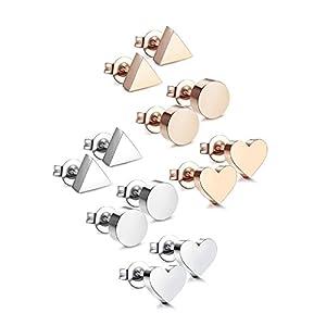 Udalyn 3-6 Pairs Stainless Steel Earrings Heart Earrings Round Triangle Stud Earring Set For Men Women