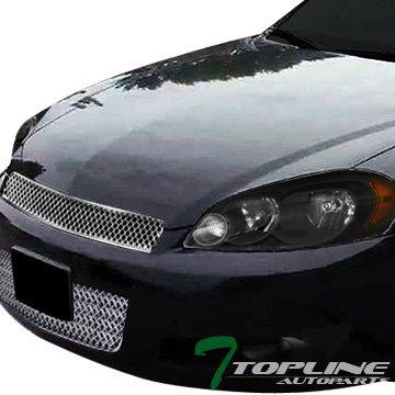 Topline Autopart JDM Black Housing Headlights Signal Blinkers Amber NB + Chrome Sport Mesh Upper & Lower Bumper Grille Grill 06-13 Chevy Impala/14-16 Limited ()