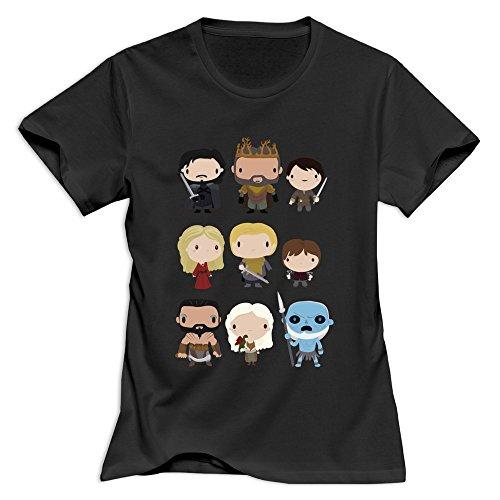 Yisw Woman's Stark Game Thrones T-Shirt S Black O Neck Artist Tees Shirt