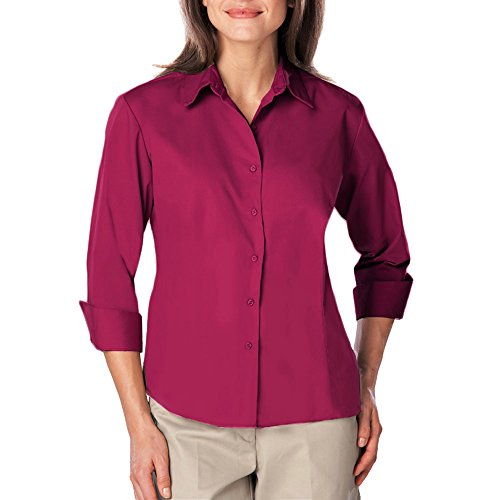 Blue Generation BG6260 - Ladies 3/4 Sleeve Easy Care Poplin with Matching Buttons (2XL, Berry)