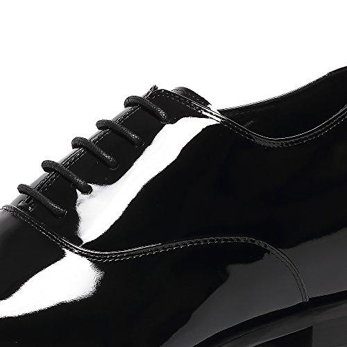 CHAMARIPA Herren Tuxedo Elevator Schuhe Aus Lackleder Schnürhalbschuhe in Schwarz - 7 cm Höher - K6532B (37, Schwarz)